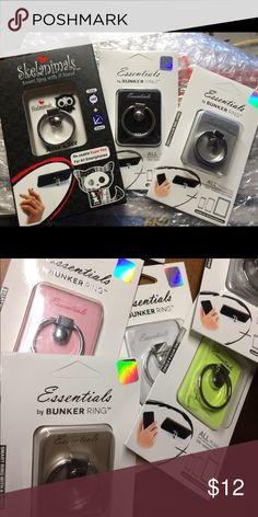 New Bunker Rings in stock! Various styles All new in box Essential Bunker Rings and exclusive Skenimals character Bunker ring. Made in Korea authentic products . Retails $25 to $30 bunker ring  Accessories Phone Cases