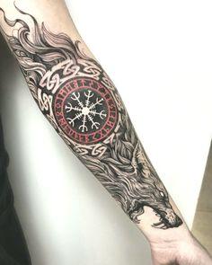 Viking Rune Tattoo, Viking Tattoo Sleeve, Lion Tattoo Sleeves, Wolf Tattoo Sleeve, Full Sleeve Tattoo Design, Norse Tattoo, Viking Tattoo Design, Celtic Tattoos, Viking Tattoos