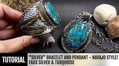 "DIY ""Faux Silver"" Bracelet and Pendant in Navajo style ~ Polymer Clay Tutorials"