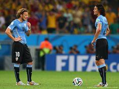 """Tenía la expectativa deque Diego Forlan sacara la """"garra charrúa"""" pero en vez """"peló el cobre"""". Rescatable en Uruguay, el fútbol y la actitud deportiva de Edinson Cavani (de los pocos que no voleó pata), hoy en la derrota del seleccionado uruguayo 2–0 frente a la Selección Colombia: «2014 FIFA Copa Mundo Brasil, """"todos en un mismo ritmo""""» [sábado, 28 de junio de 2014]."""