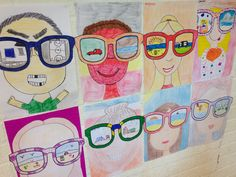Face and neck filling page. Large sun glasses with each student deciding on a reflection in glasses. First Day Activities, Art Activities, Spring Art, Summer Art, School Art Projects, Art School, Painting For Kids, Art For Kids, Doodle Drawing
