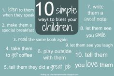 10 Simple Ways to Bless Your Children.