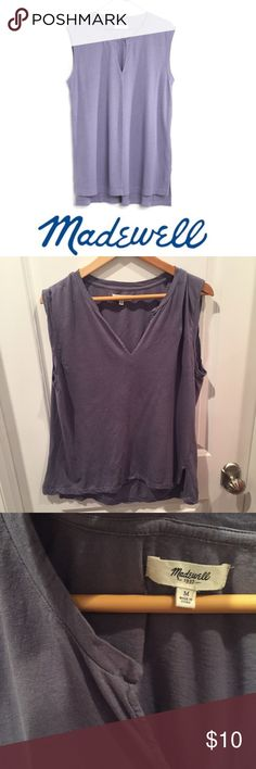 Madewell Purple Sleeveless V-Cut Tee Madewell Purple Sleeveless V-Cut Tee. Small slits on the side. 26 inches long in the front, 27 inches long in the back. 21 inch bust. Meant to be oversized. Gently worn. Great condition. Feel free to make an offer or bundle & save! Madewell Tops