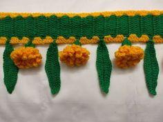 Crochet Table Runner Pattern, Crochet Lace Edging, Crochet Flower Patterns, Crochet Flowers, Crochet Borders, Crochet Ideas, Door Hanging Decorations, Diy Diwali Decorations, Flower Decorations