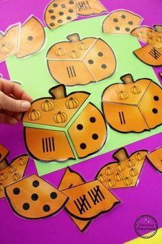 Pumpkin Counting Puzzles - Preschool Activities for October