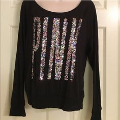 PINK Sequin Long Sleeve Sweater Long sleeve Sweatershirt. Victoria's Secret PINK with colorful sequins, very good condition PINK Victoria's Secret Tops Tees - Long Sleeve