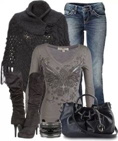 Pin by debbie reed on casual fashion, outfits, women Mode Outfits, Casual Outfits, Fashion Outfits, Rustic Outfits, Fashion Clothes, Cute Fashion, Look Fashion, Fall Fashion, Fashion Check