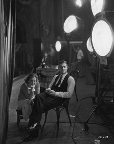 On the set with Joan Crawford & Clark Gable.