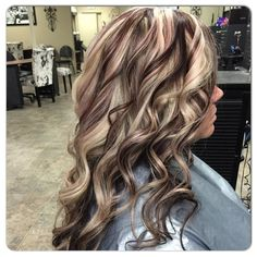 Blonde and violet red all over highlight by janee hair by janee цвет волос, Hair Color And Cut, Haircut And Color, Cool Hair Color, Hair Colors, Hair Cut, Brown Hair With Blonde Highlights, Hair Color Highlights, All Over Highlights, Ash Blonde