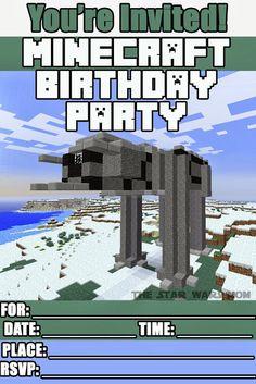 Minecraft Star Wars Birthday Party Invitations - Free Printable #Minecraft #StarWars #Party