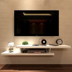 Tv Cabinet Design, Tv Wall Design, Bedroom Tv Wall, Home Decor Bedroom, Tv Stand In Bedroom, Tv Cabinet For Bedroom, Mounted Tv Decor, Wall Mounted Tv Unit, Wall Units