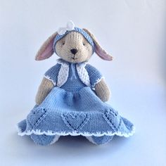 Hand knitted stuffed animal toy Bunny in dress