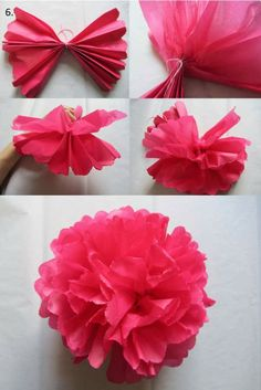 Step by step tissue pompom tutorial