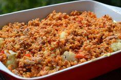 Rakott karfiol - Keva Blog Fried Rice, Ethnic Recipes, Blog, Red Peppers, Stir Fry Rice
