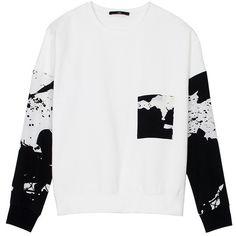 TIBI Paint Splatter Drop Shoulder Top ($110) ❤ liked on Polyvore featuring tops, hoodies, sweatshirts, shirts, sweaters, black multi plash, drop shoulder sweatshirt, drop shoulder tops, tibi top and splatter paint shirt