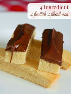 Scottish Shortbread - With only 4 ingredients these buttery Scottish shortbread cookies are one of the best examples of simple perfection. Maybe even more perfect with chocolate. Perfect Christmas Cookies for gift giving too!