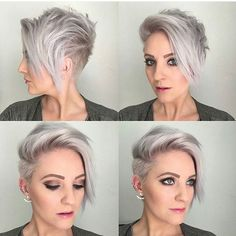The purple is gone. The reason why I love going very pigmented with my toners when wanting an icey or silver blonde is, so when they do… Short Hairstyles For Thick Hair, Pixie Hairstyles, Short Hair Cuts, Short Hair Styles, Pixie Haircuts, Great Haircuts, Modern Haircuts, Longer Pixie Haircut, Asymmetrical Pixie