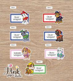 Paw Patrol School name labels Labels for school School Kids Name Labels, School Name Labels, School Supply Labels, Book Labels, Printable Labels, Printable Stickers, Name Stickers, Kids Stickers, Paw Patrol Names