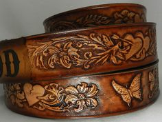 Name Belt- Butterflies/Hearts NBT Includes name in center back, utility buckle & leather keeper Thick Leather, Tan Leather, Leather Craft, Cuff Bracelets, Butterfly, Belt, Hearts, Jewelry, Scene