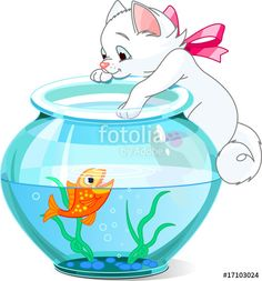 """Kitten and fish"" Stock image and royalty-free vector files on Fotolia.com - Pic 17103024"