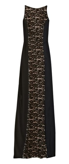 Nina Ricci Black Charmeuse and Crepepaneled Lace Gown