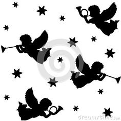 Christmas seamless pattern with silhouettes of angels, trumpets and stars, black icons, illustration by Tabitazn, via Dreamstime