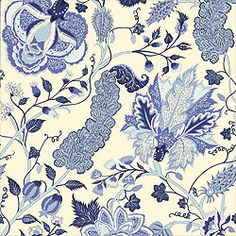 Dorchester Fabric in blue from the Thibaut Tidewater collection.