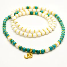 White Shell And Turquoise Mala Beads Japa mala by ShantiPresence, $54.00