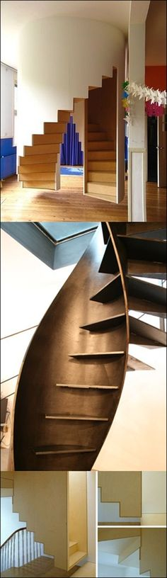 3 of Art becomes functional with this stunning architectural staircase design, created by Italian company Sandrini Scale. The helix-shaped metal structure is formed by blending two spirals; one outside and one inside serving as a rigid support for the Architecture Details, Interior Architecture, Escalier Design, Balustrades, Stair Handrail, Railings, Take The Stairs, Modern Stairs, Ideas