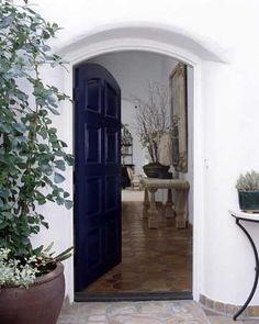 front door ... go bold with a dark color door ( I'd pick hunter green or crimson )
