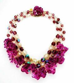 Collana Attis,pubblicata su Fashion Jewelery violette plexiglas e paste di vetro con Foglia d argento inclusa,granata