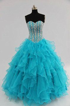 2013 Organza Sweetheart Ball Gown Blue Party dresses #ShopSimple