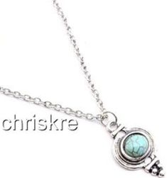 """Silver Plated Turquoise Stone Necklace Southwestern Native Style 19"""".USA Seller #CrystalAvenue #Pendant"""