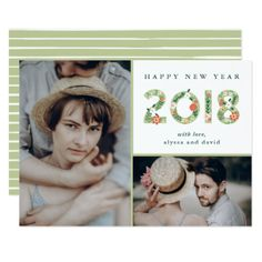 Floral Beginnings | Two Photo Happy New Year Card - floral style flower flowers stylish diy personalize