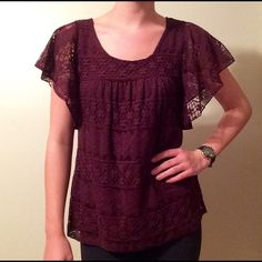 Merlot Lace Blouse Merlot Lace Blouse by Elle, lace flutter sleeves, slip layer underneath - not under sleeves, loose fitting and whimsical, can fit a size S or M Elle Tops Blouses