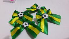 Kit com 10 laços (5 pares) Copa. <br> <br>Temos também Amarelo com verde e podemos fazer de outros países.
