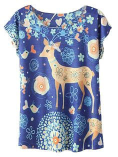 Blue T-shirt With Deer And Floral Print
