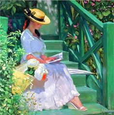 Lovely woman on staircase reading by Vladimir Volegov, and montage by Jesús Andrés Romero Rojas. Double Exposition, Monet Paintings, Paintings I Love, Vladimir Volegov, Silent Day, Kinds Of Reading, Art Of Letting Go, Star Wars Quotes, Girl Reading