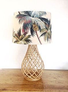 Lampshade Coastal Decor Palm Trees Lamp Shade Beach Decor Tropical Decor Barrel Lampshade.