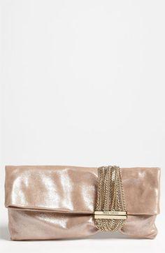 Women's Jimmy Choo 'Chandra' Leather Clutch - Metallic