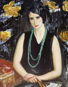 """Maurice Fromkes, Spanish Woman with a Green Bead Necklace, Madrid, circa 1930.Signed upper left: """"M. Fromkes/ [E] M.F."""" Inscribed on stretcher: """"FROMKES Madrid 1930"""". Label on frame verso: """"Maurice Fromkes, 1872-1931/Vatican Gallery, Washington/Buffalo, New Orleans, Madrid/Milch Gallery 1929-A.N.A./Grand Central Gal./Thieme-Becker"""". In fine condition. From the Joseph and Marjorie Relkin Collection.Maurice Fromkes was born in Vilna, Poland and brought to the US as a small child. He lived and…"""