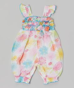 Another great find on #zulily! White Floral Ruffle Romper - Infant by Baby Essentials #zulilyfinds