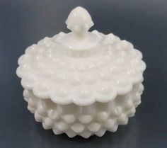 Fenton Hobnail Milk Glass Large Hob Covered Low Candy