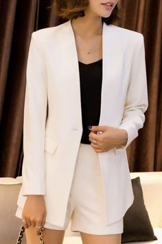 cbb985ea2c Shop dongzhouyali white work blazer and mini shorts here