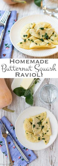Transform handmade pasta dough into delicious little pillows of homemade butternut squash ravioli. All you need is a rolling pin and a little time. #butternutsquash #ravioli #fallrecipes