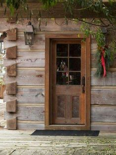 Il can picture doing this to a back porch.the wood, fake beams, wood trim.~FARMHOUSE – vintage early american farmhouse in historic new england. Cabin Doors, Cabin In The Woods, American Farmhouse, Modern Farmhouse, Farmhouse Style, Décor Antique, Log Cabin Homes, Log Cabins, Log Cabin Exterior