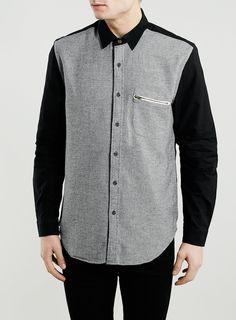 Grey Contrast Long Sleeve Shirt