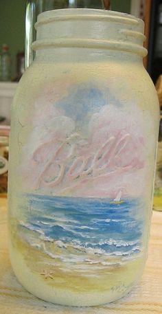 Pretty Beachy Mason Jar to help me sail through the day.