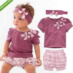 Baby summer clothing set children t-shirt+pant+headwear 3 pieces set  bowknot clothing set flowe print http://s.click.aliexpress.com/e/vFma6yRfy