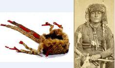 Kiowa bobcat turban (NMNH) and Kiowa man wearing a similar one ca. 1870, by Soule.  ac